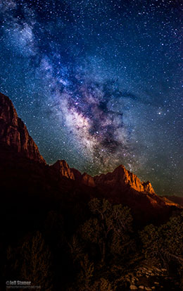 Milky Way rising over the Watchman at Zion National Park / Photo by Jeff Stamer