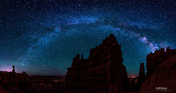 The Milky Way arcs over Bryce Canyon in this 7 frame image stitched together in Photoshop / Photo by Jeff Stamer